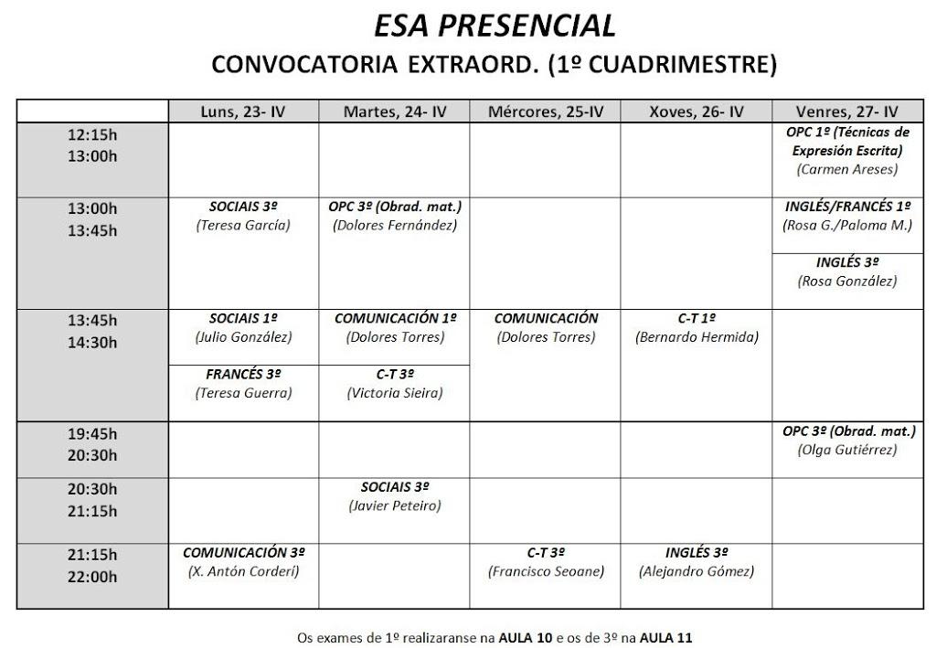 HORARIO EXAMES PRESENCIAL, CONVOCATORIA EXTRAORDINARIA