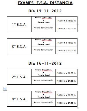 ESA SEMIPRESENCIAL: calendario e horarios dos exames do 1º cuadrimestre.