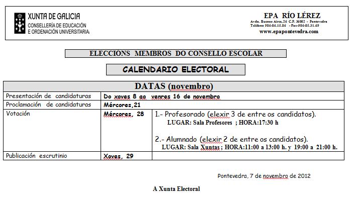 RENOVACIÓN CONSELLO ESCOLAR: CALENDARIO ELECTORAL