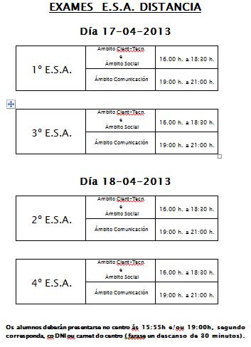 ESA SEMIPRESENCIAL: calendario e horarios dos exames do 1º bimestre