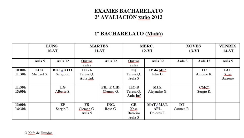 Calendario/Horario de exames de 1º de Bacharelato