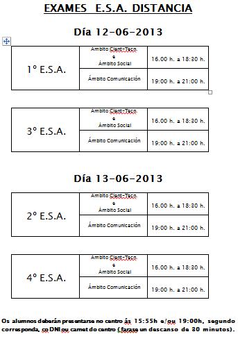 ESA SEMIPRESENCIAL: Datas e horas dos exames da convocatoria de xuño