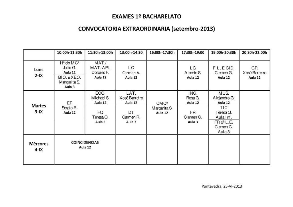CALENDARIO EXAMES SETEMBRO DE 1º BACHARELATO