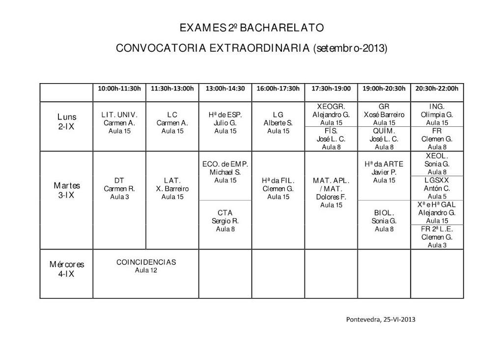 EXAMES DE SETEMBRO 2º BACHARELATO