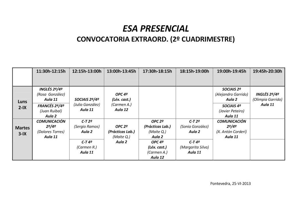 EXAMES ESA PRESENCIAL SETEMBRO 2013