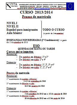 CALENDARIO MATRÍCULA 2013-2014 (ESA, BACH., IDIOMAS,…)