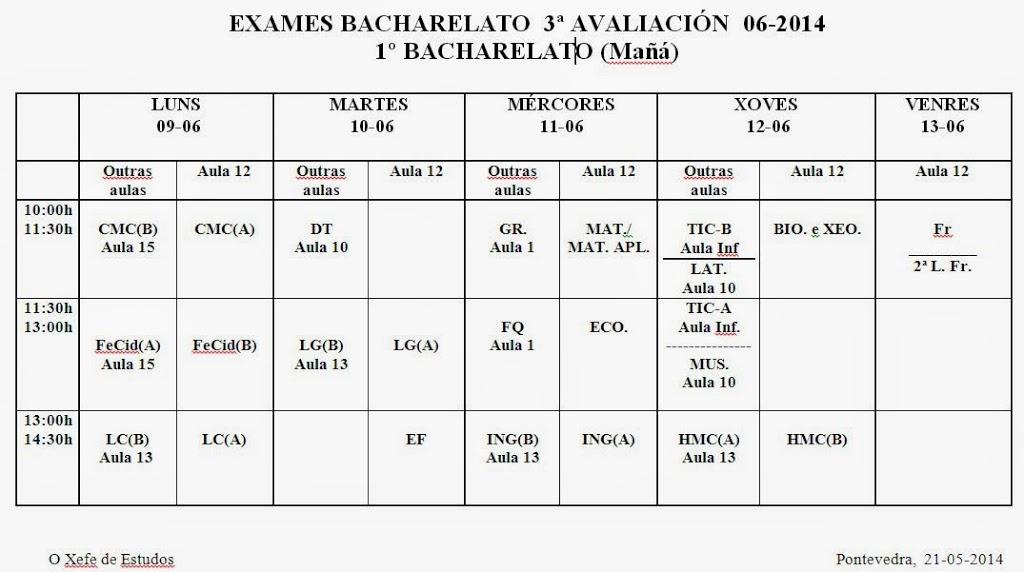 CALENDARIOS EXAMES 3ª AVALIACIÓN E FINAL 1º DE BACHARELATO