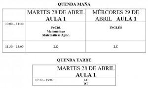 Calendario exames