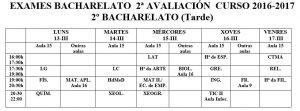 Exames 2º Bach tarde