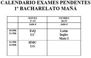 Calendario exames da mañá