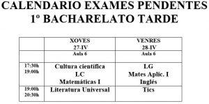 Calendario exames da tarde