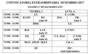 EXAMES DE 1º DE BACHARELATO
