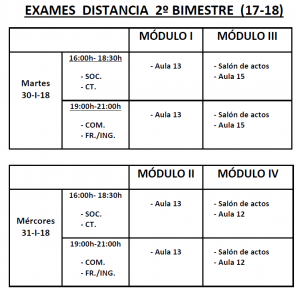 Calendario de exames 2º bimestre semipresencial