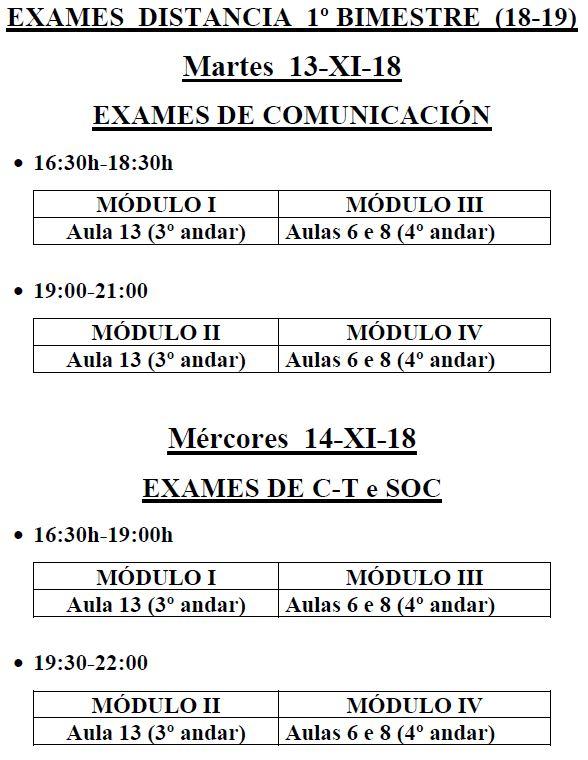 Horario dos exames de semipresencial 1º bimestre