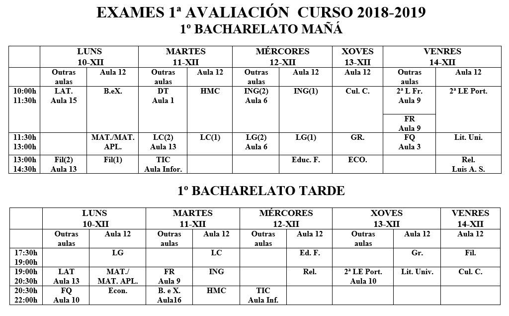 Calendario de exames de 1º