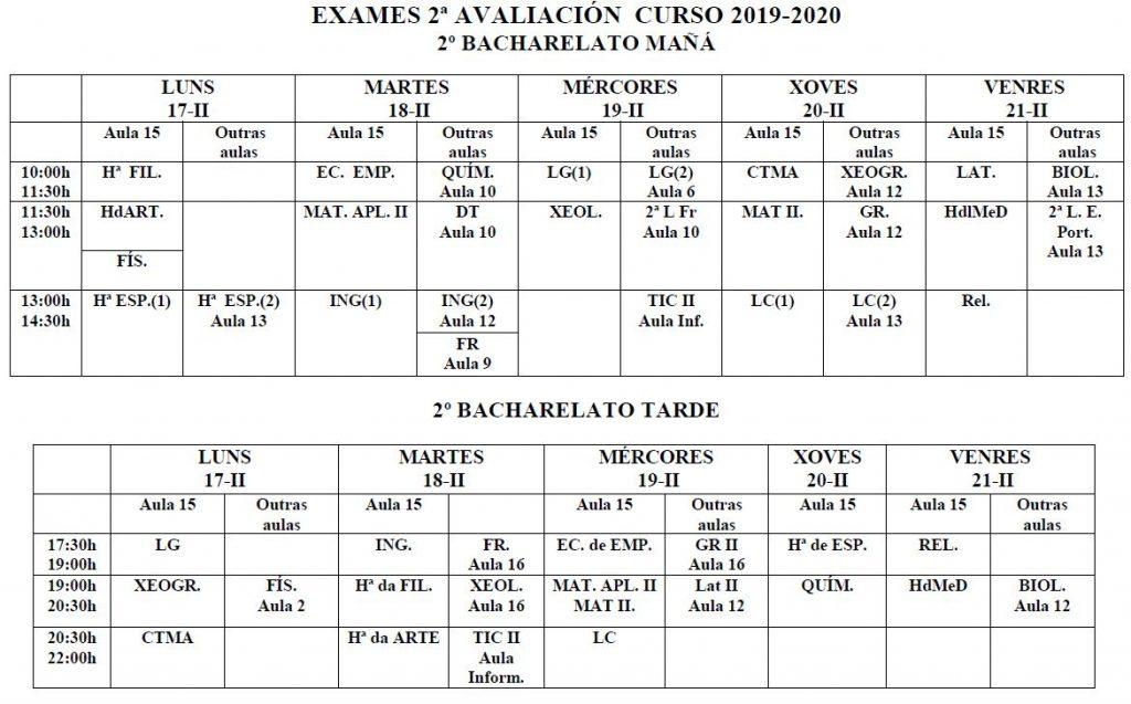 Calendario exames 2ª avaliación